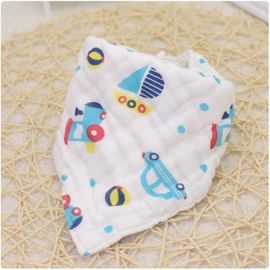 Adjustable Infant Organic Muslin Baby Bibs Four Layers Printed Pattern