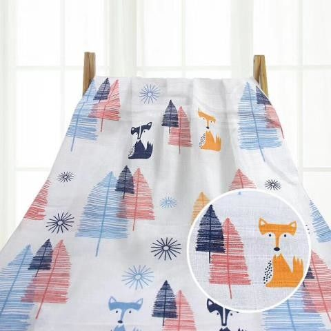 Printed Muslin Swaddle Blankets Breathable Solid Color For Newborns