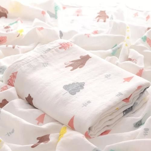 Breathable Solid Color Swaddle Me Blankets Plain / Seersucker Style 120cm X 120cm For Kids