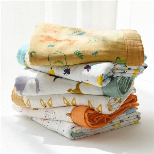 Oversized Bamboo Cotton Muslin Swaddle Blankets Fresh Fashionable Fun Cartoon Color