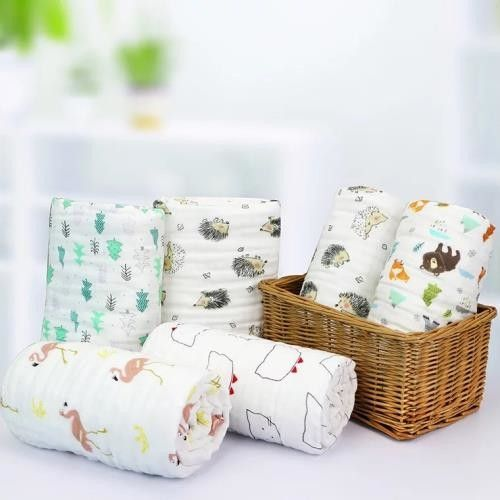Absorbent Infant Receiving Blankets , Soft Muslin Blankets For Teething / Drooling