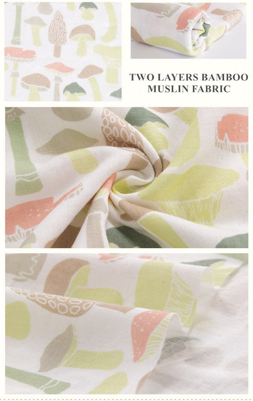Antibacterial Organic Cotton Muslin Fabric Ultra Soft Breathable